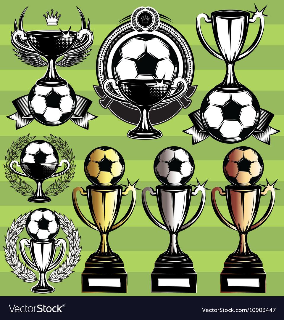 Set of monochrome league icons with soccer vector image