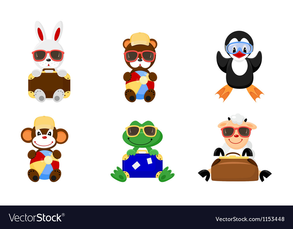 Cute animals go to holiday vector image