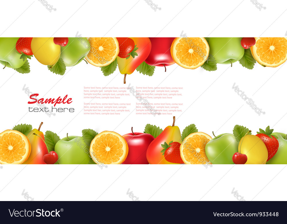 Colorful fruit background vector image