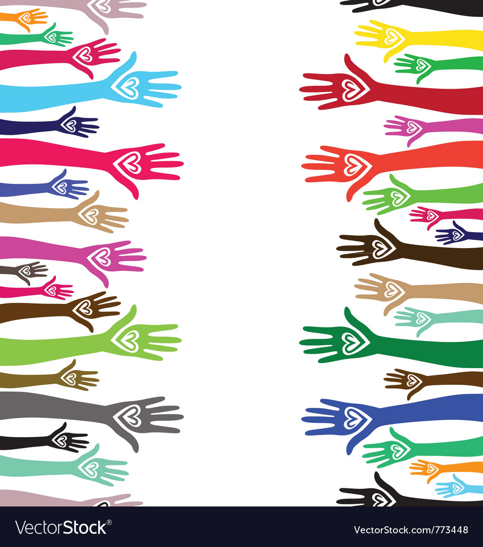 Hands united pattern vector image