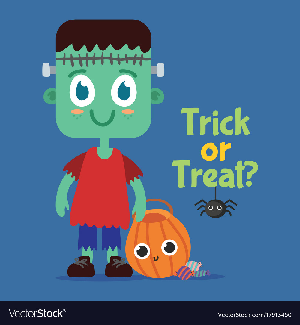 Little-frankie-cute-halloween-style vector image