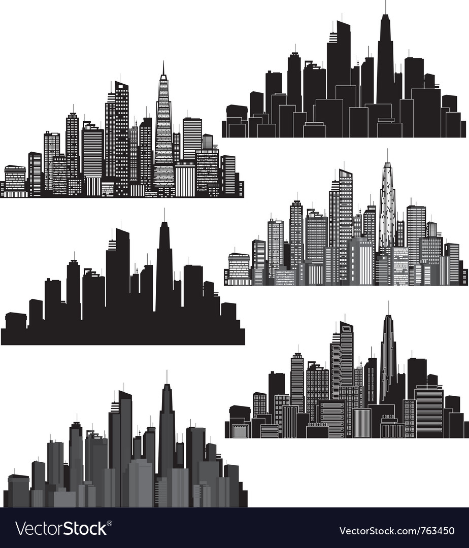 Set of cities silhouette vector image