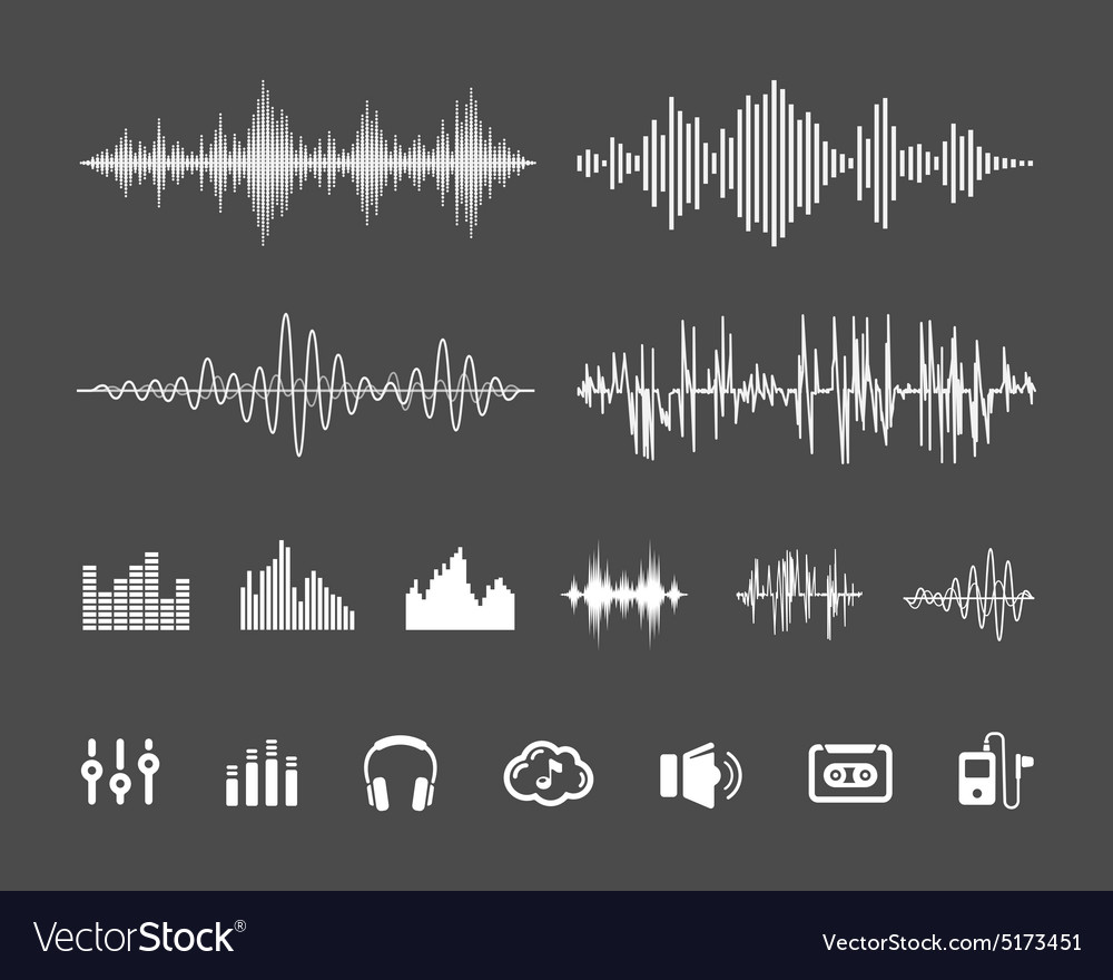 Sound waveforms vector image