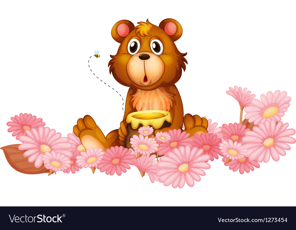 A garden of pink flowers with a bear vector image