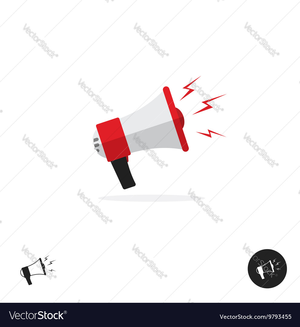 Bullhorn shout logo icon news alert equipment vector image