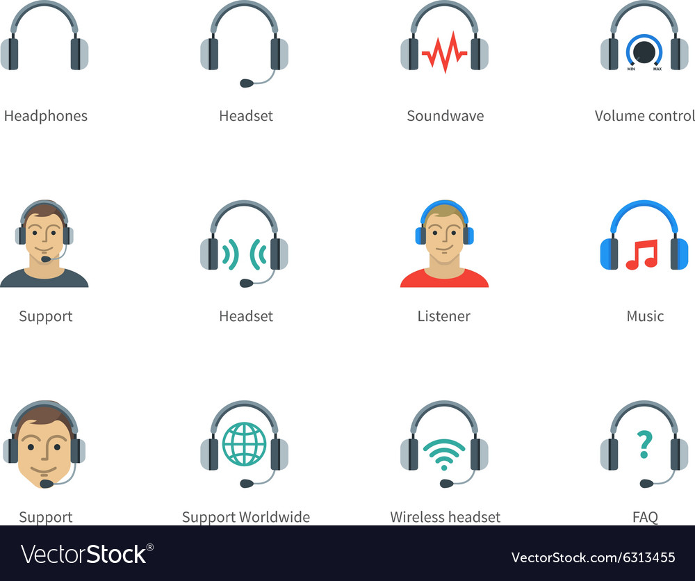 Headphones and headset color icons on white vector image