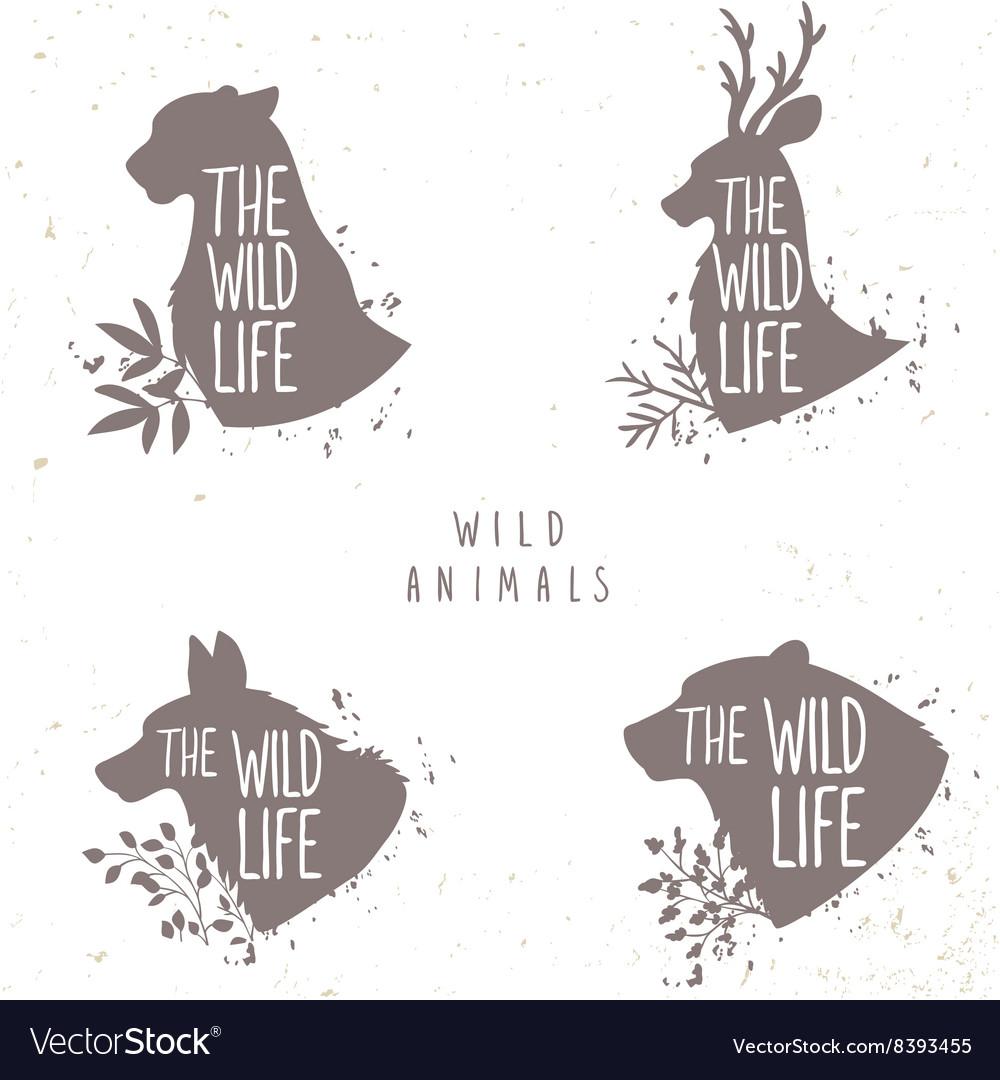 Set silhouette animals vector image
