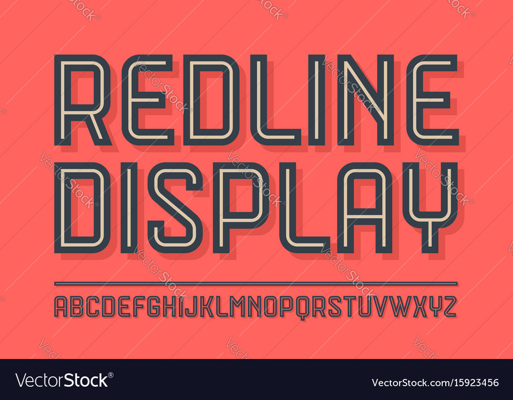 Alphabet and font red line with shadow vector image
