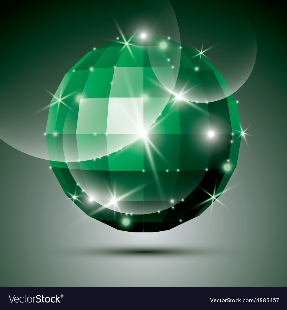 Dimensional green sparkling disco ball created vector image