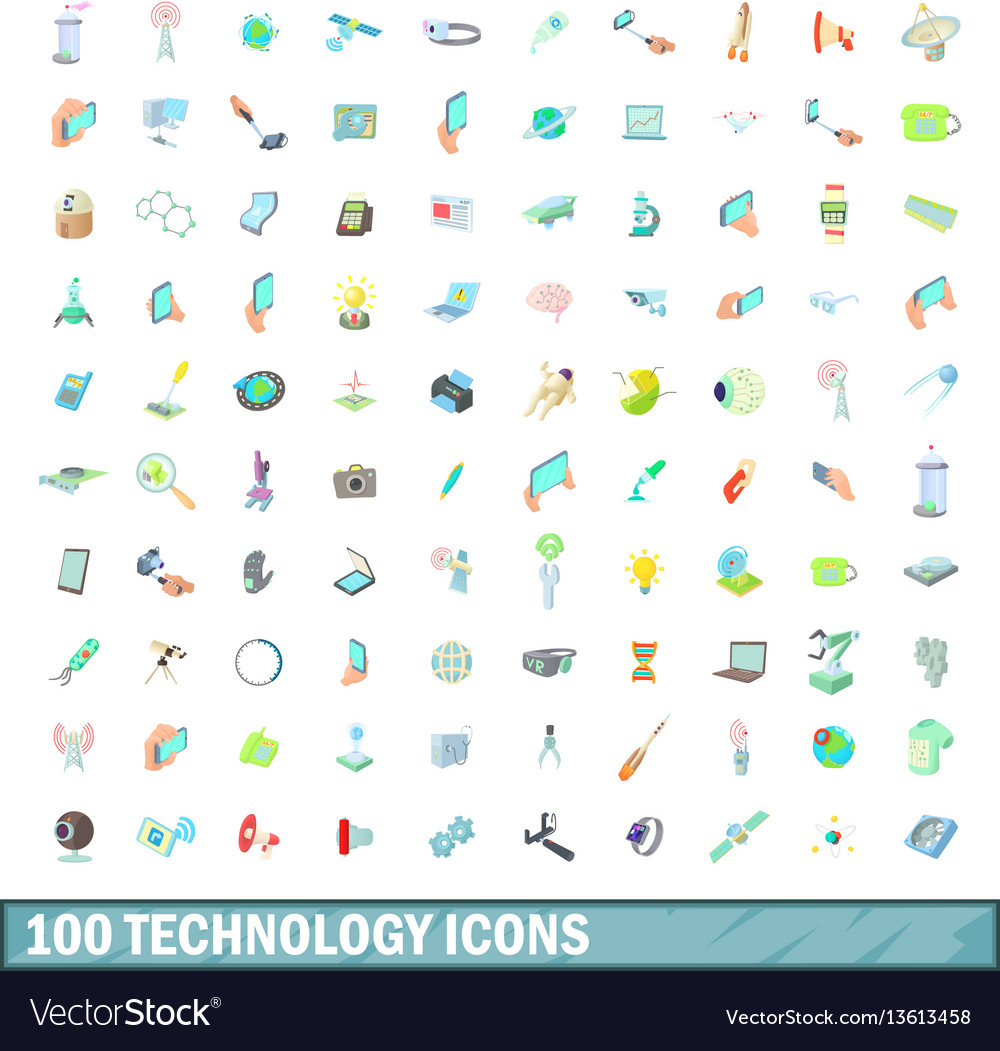 100 technology icons set cartoon style vector image