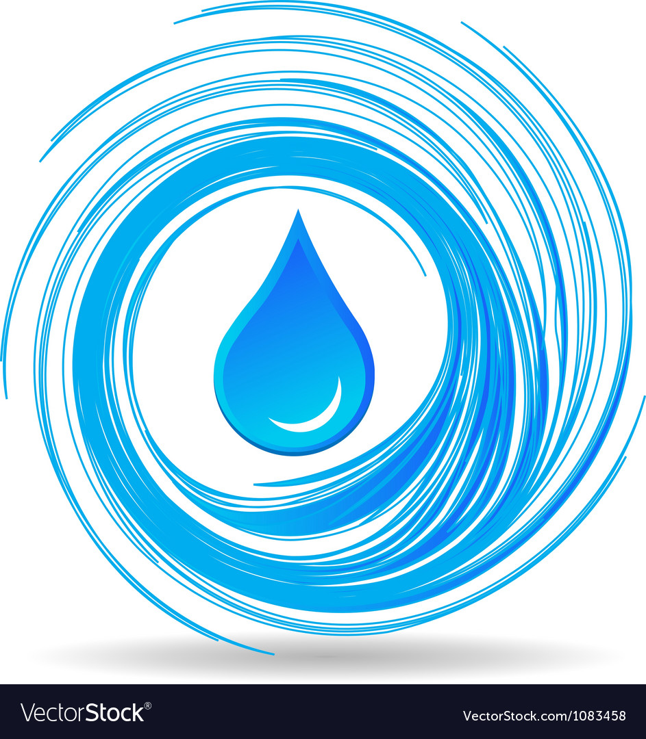 Water drop and waves vector image