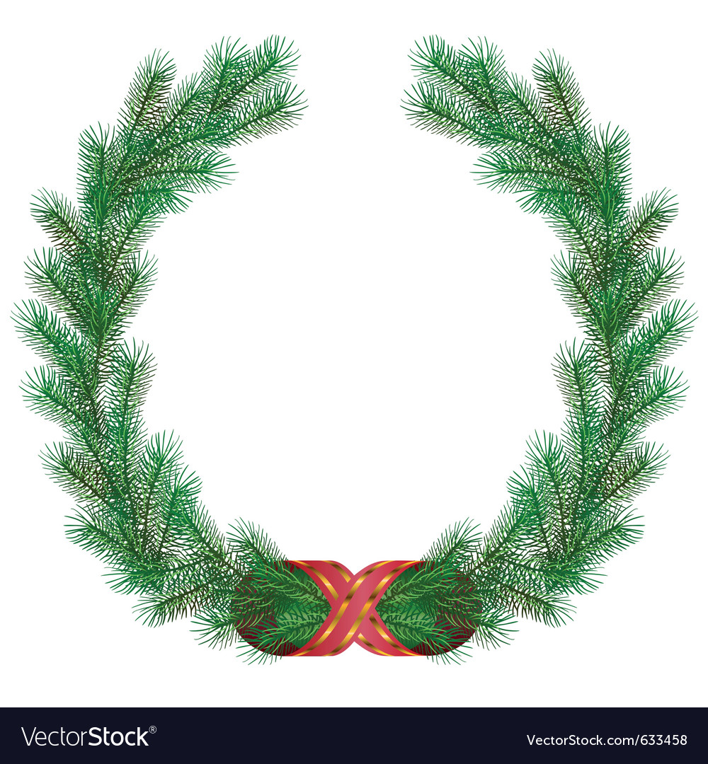 Christmas fir branch wreath frame vector image