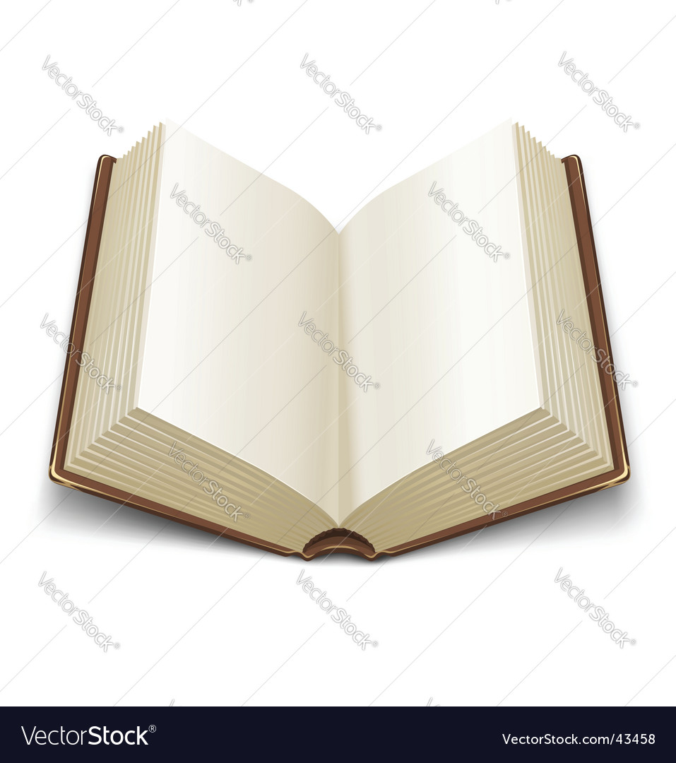 Opened book with brown cover vector image