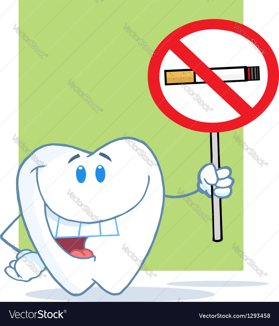 Smiling Tooth Holding Up A No Smoking Sign vector image