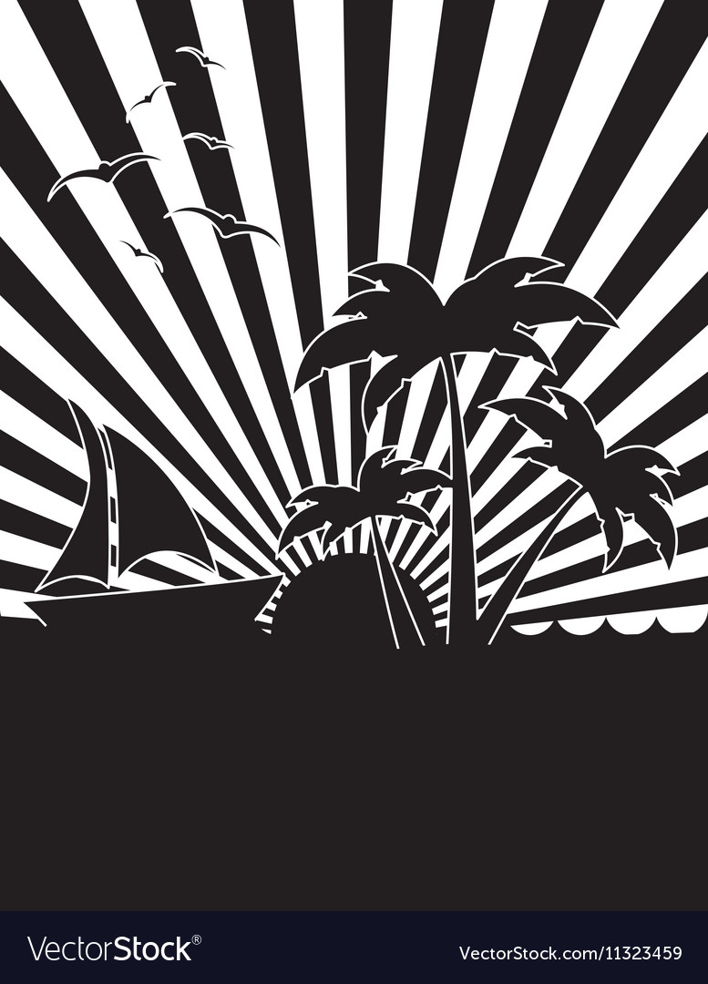 Black and white tropical sunset icon image vector image
