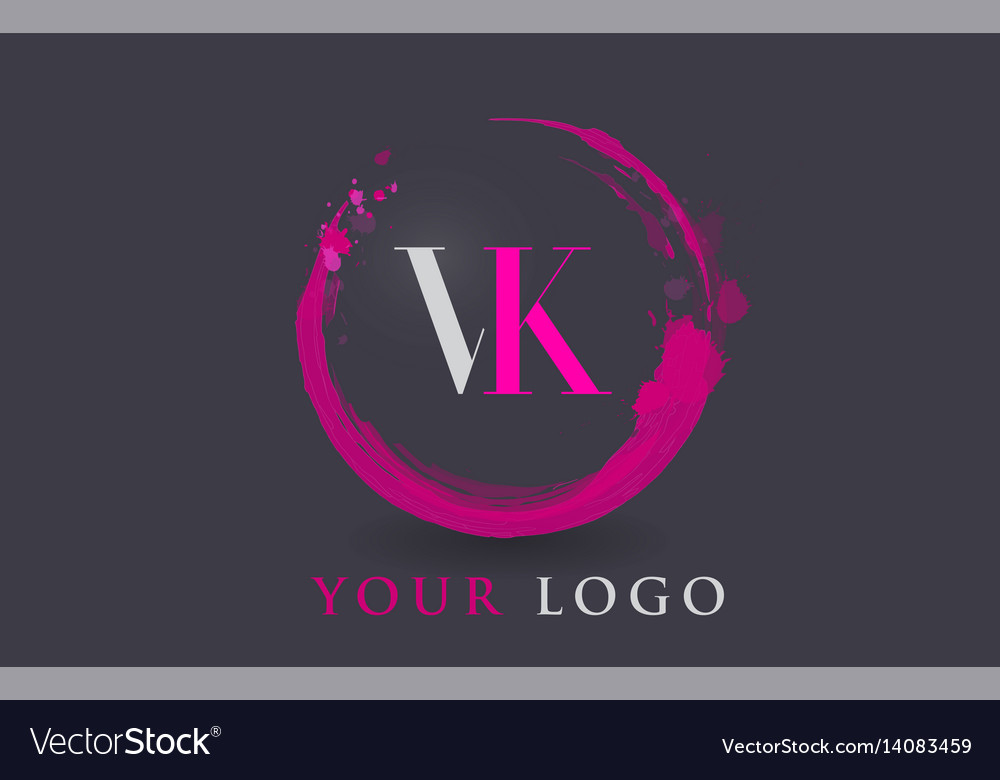 Vk letter logo circular purple splash brush vector image