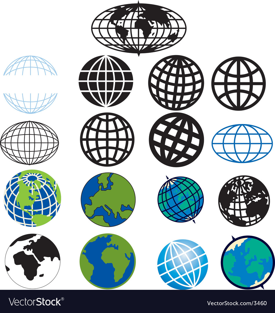 Various globes and earth icons vector image