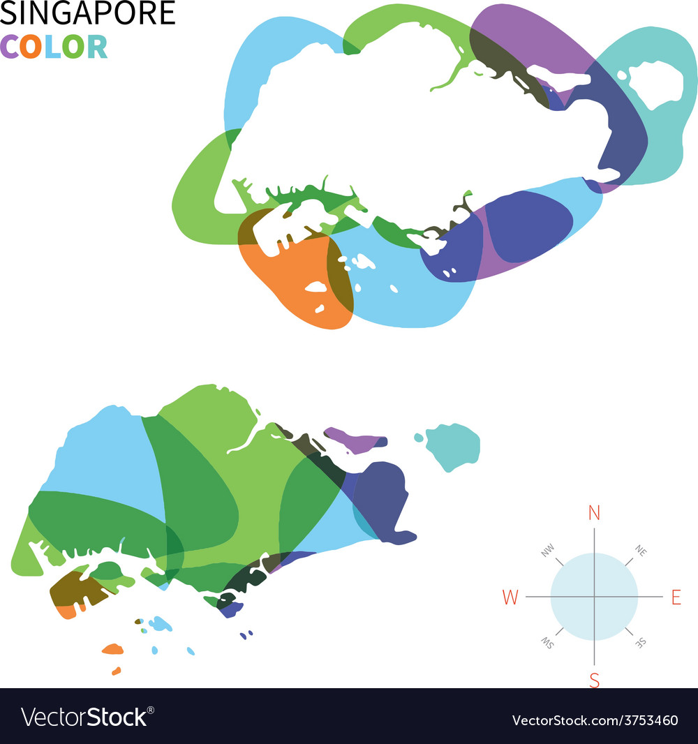 Abstract Color Map Of Singapore Royalty Free Vector Image - Singapore map vector