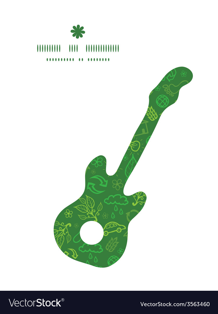 Ecology symbols guitar music silhouette pattern vector image