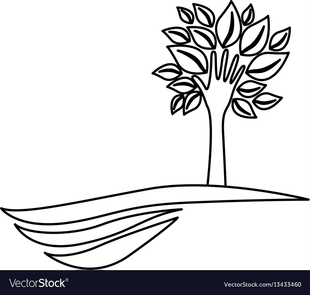 Figure tree with leaves and stem in form hand in vector image