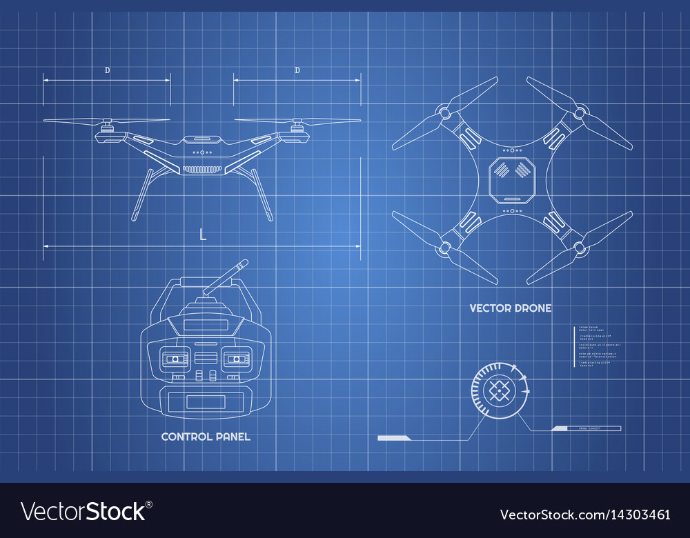 Drawing of drone industrial blueprint royalty free vector drawing of drone industrial blueprint vector image malvernweather Images