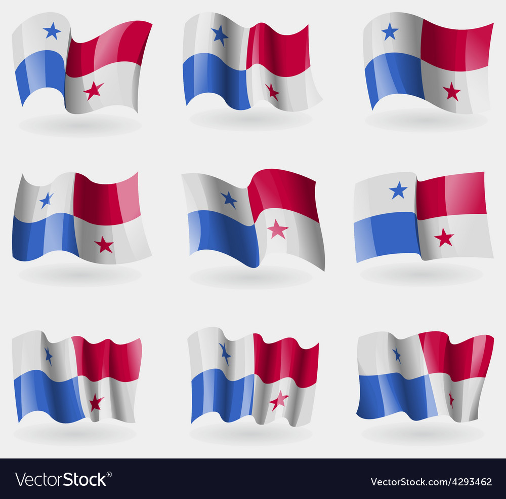 Set Of Panama Flags In The Air Royalty Free Vector Image - Panama flags