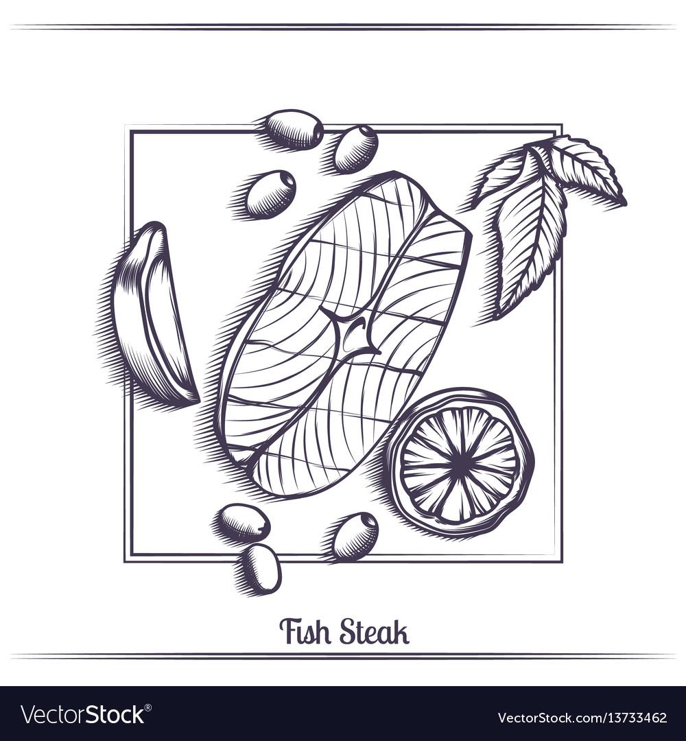 Steak fish with lemon and olives black vector image
