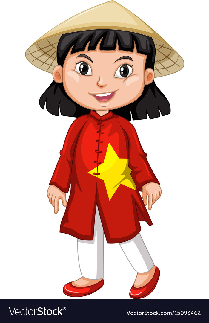 Vietnamese girl in tradition costume vector image