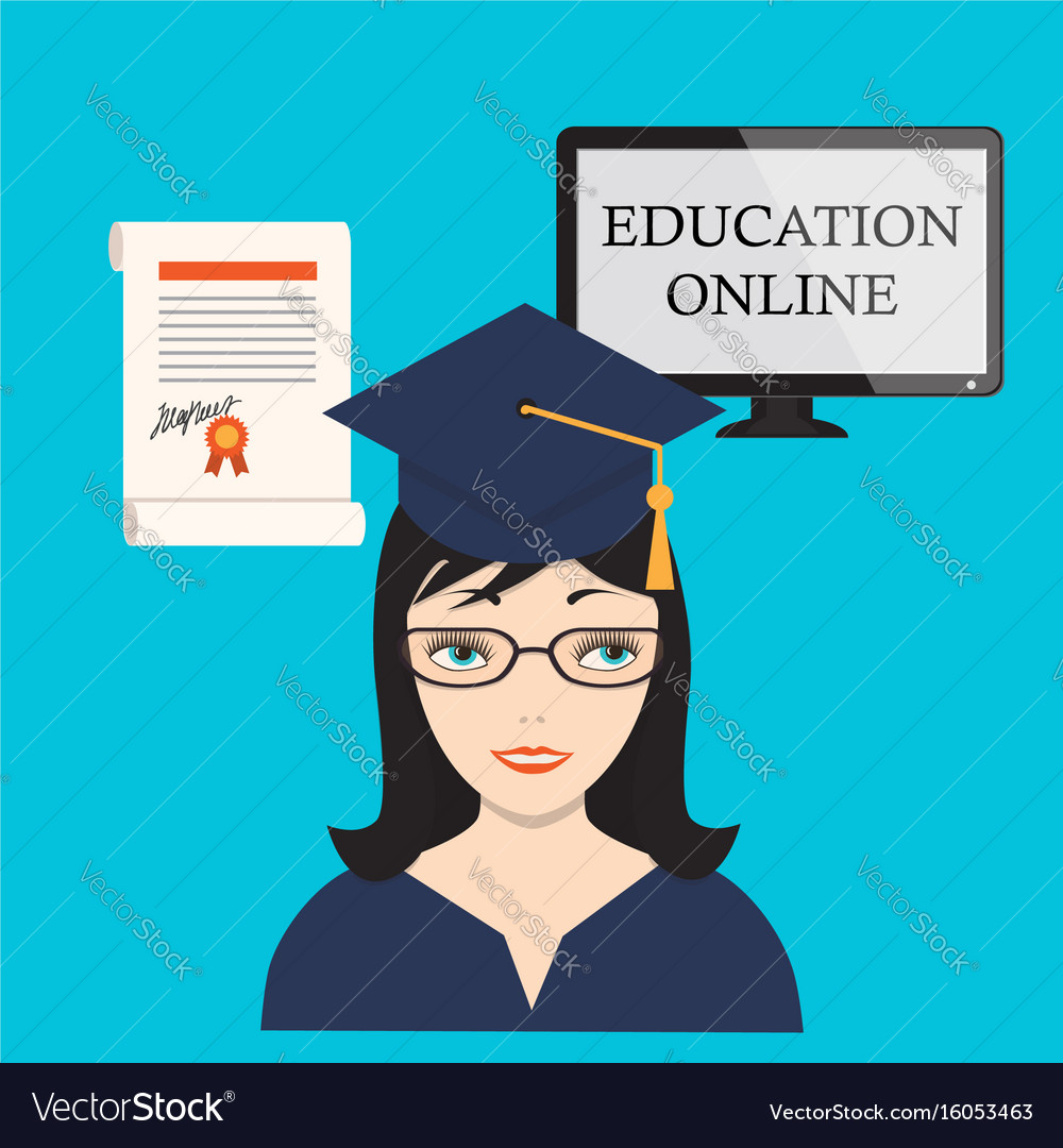 Education online with girl computer screen and vector image
