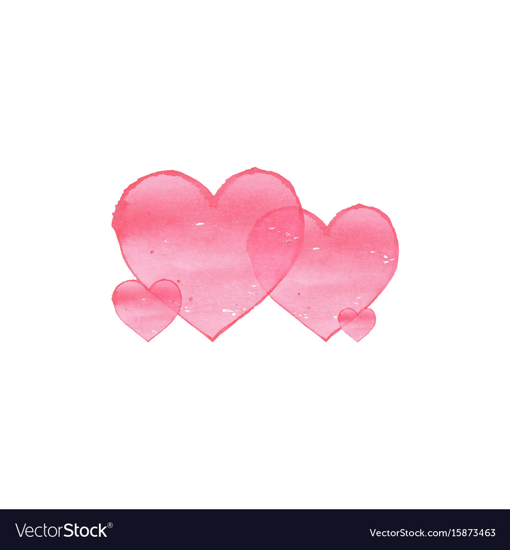 Watercolor hearts on white background family vector image
