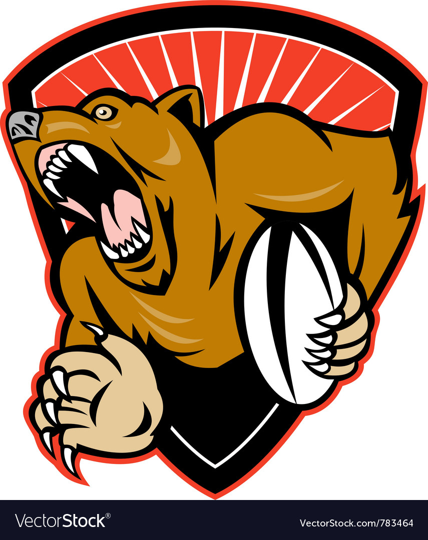 Rugby bear shield vector image