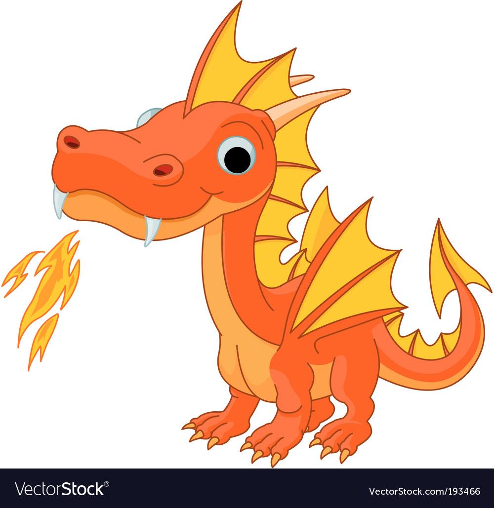 Cartoon fire dragon vector image