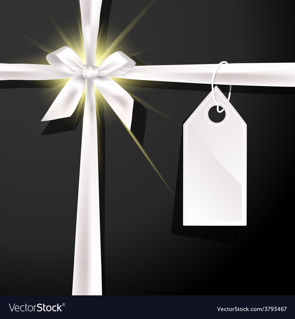 White gift bow with label on black background vector image