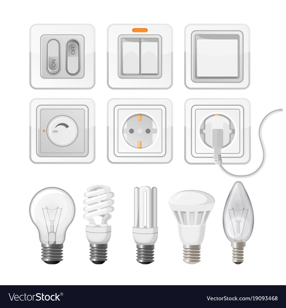Set of light saving bulbs electric switches Vector Image