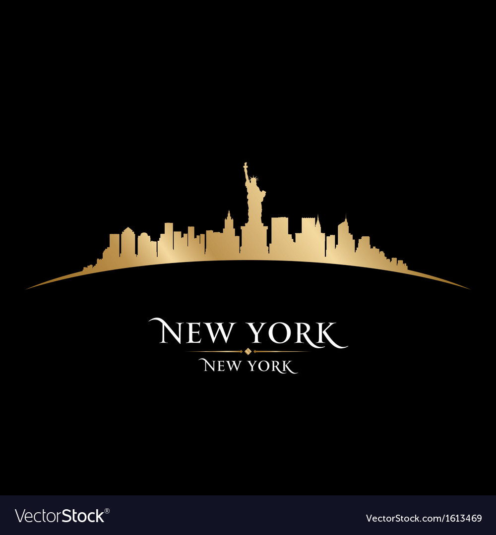 New York City Skyline Silhouette Royalty Free Vector Image