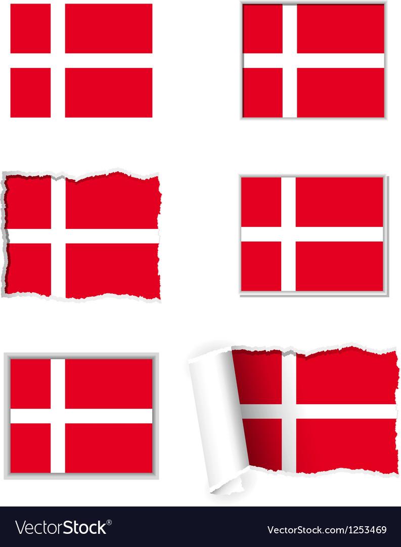 Denmark flag set vector image