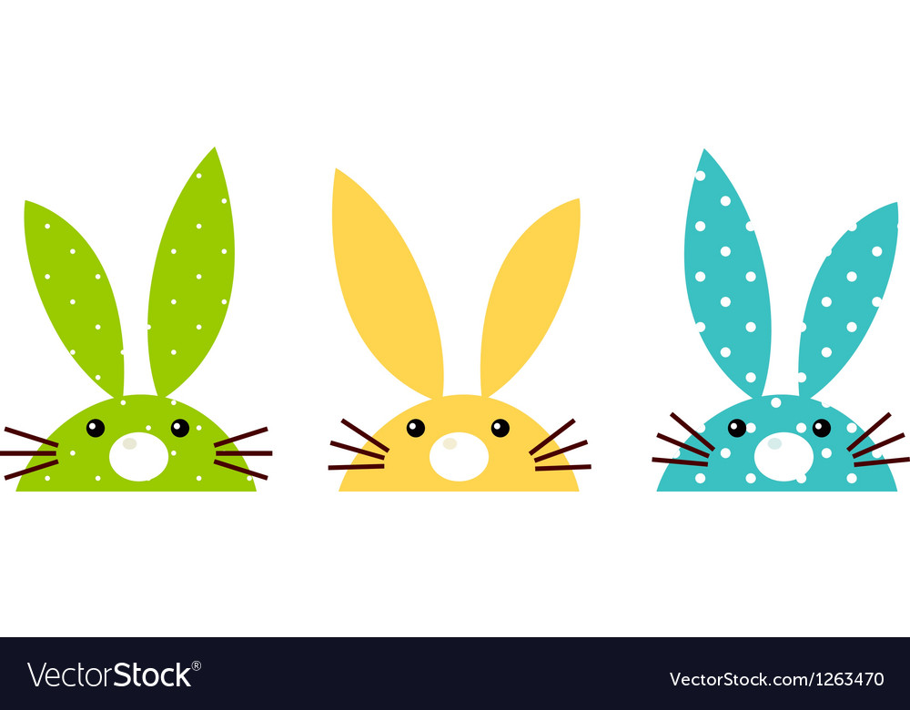 Cute patterned bunny set isolated on white vector image