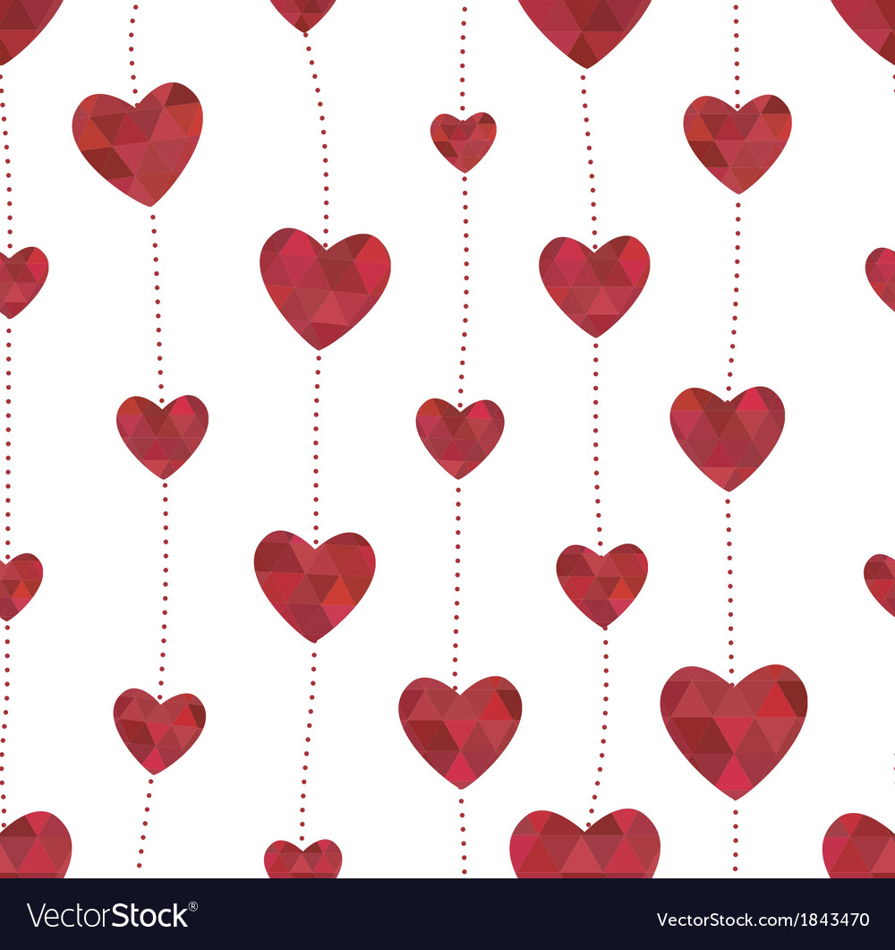 Garland with red hearts in the crystalline style vector image