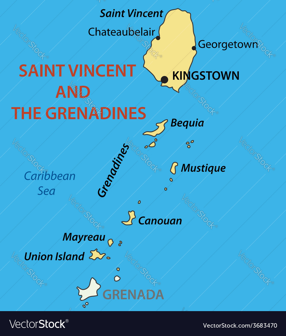 Saint Vincent And The Grenadines Map Royalty Free Vector - Saint vincent and the grenadines map