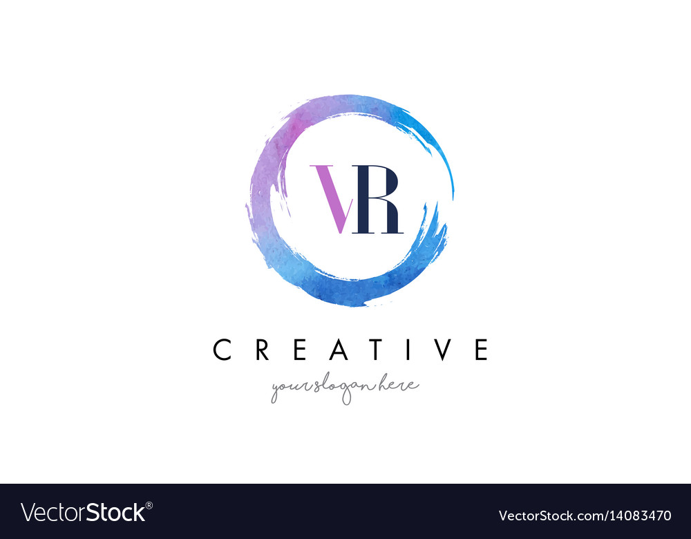 Vr letter logo circular purple splash brush vector image