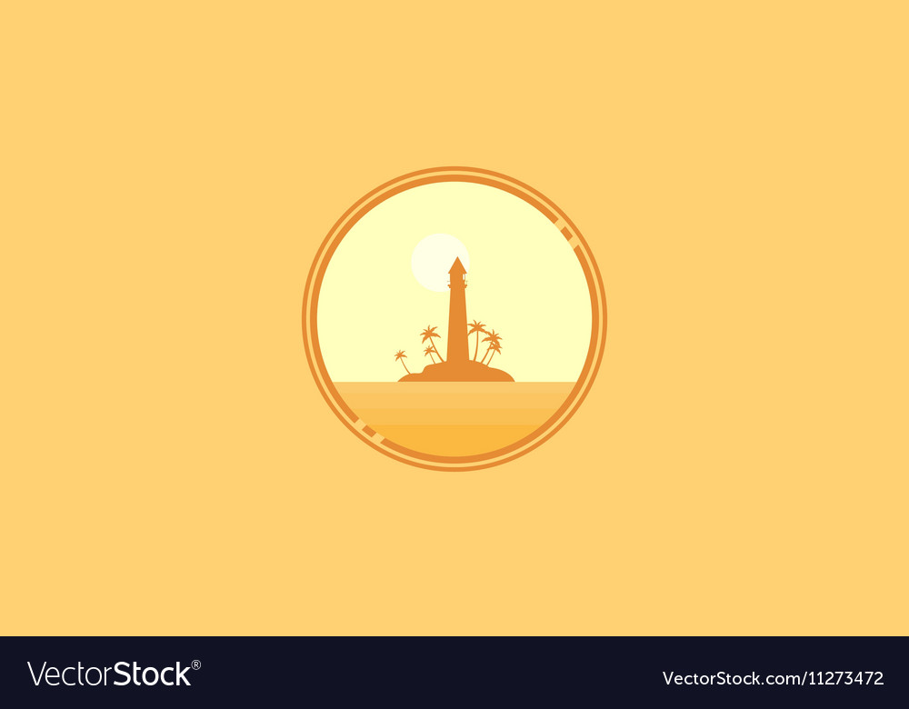 Icon scenery island and light house silhouettes vector image