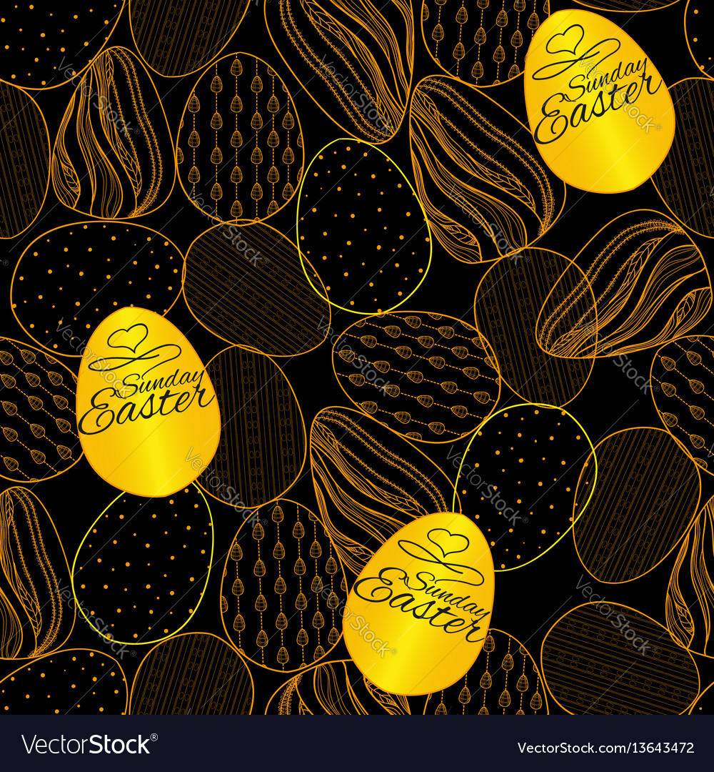 Seamless pattern with easter eggs hand drawn vector image