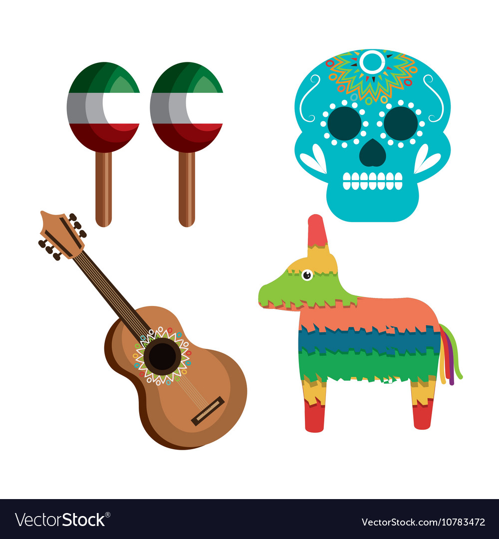 Set icons culture festive mexican design vector image