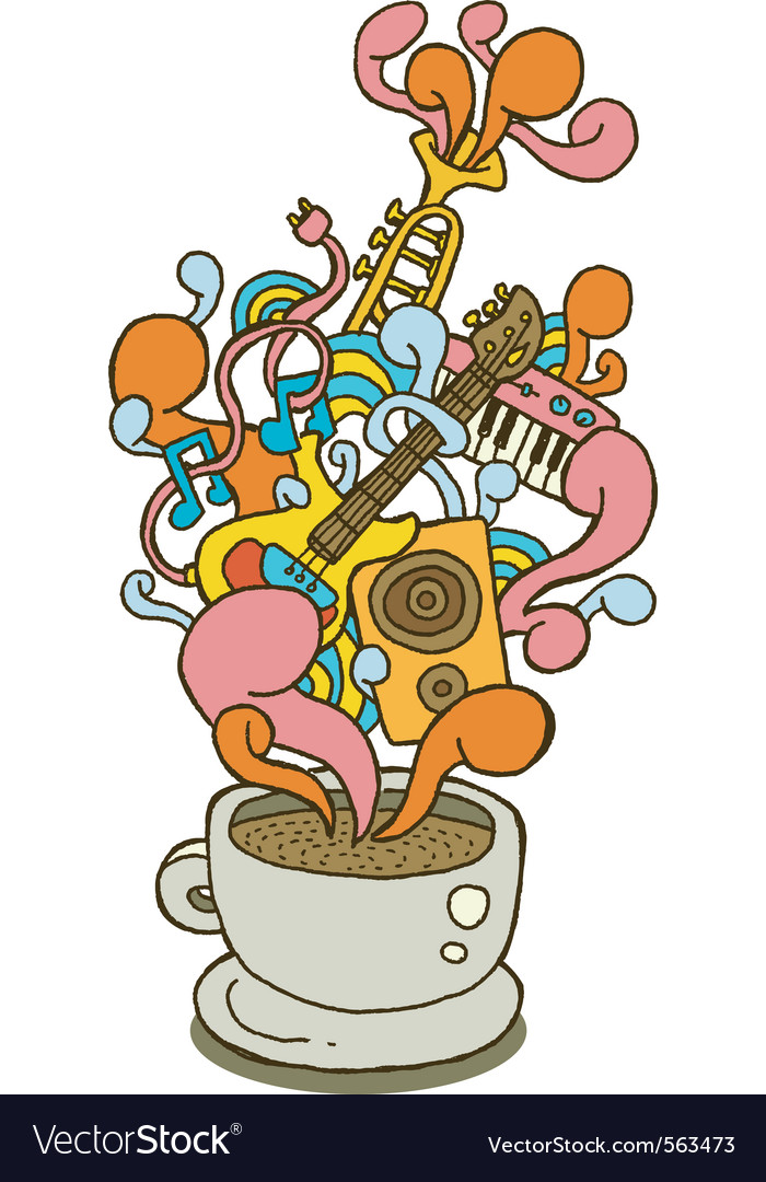 Coffee cup series music vector image