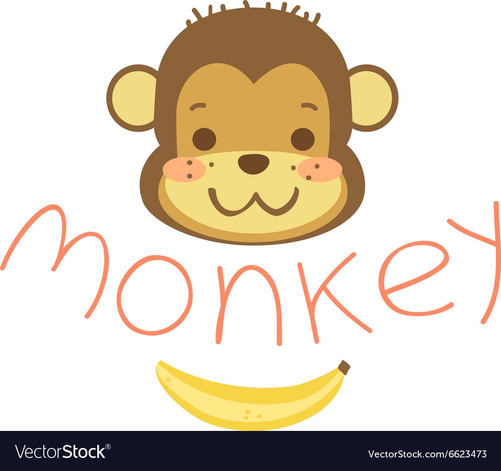 head cute cartoon monkeys and banana royalty free vector