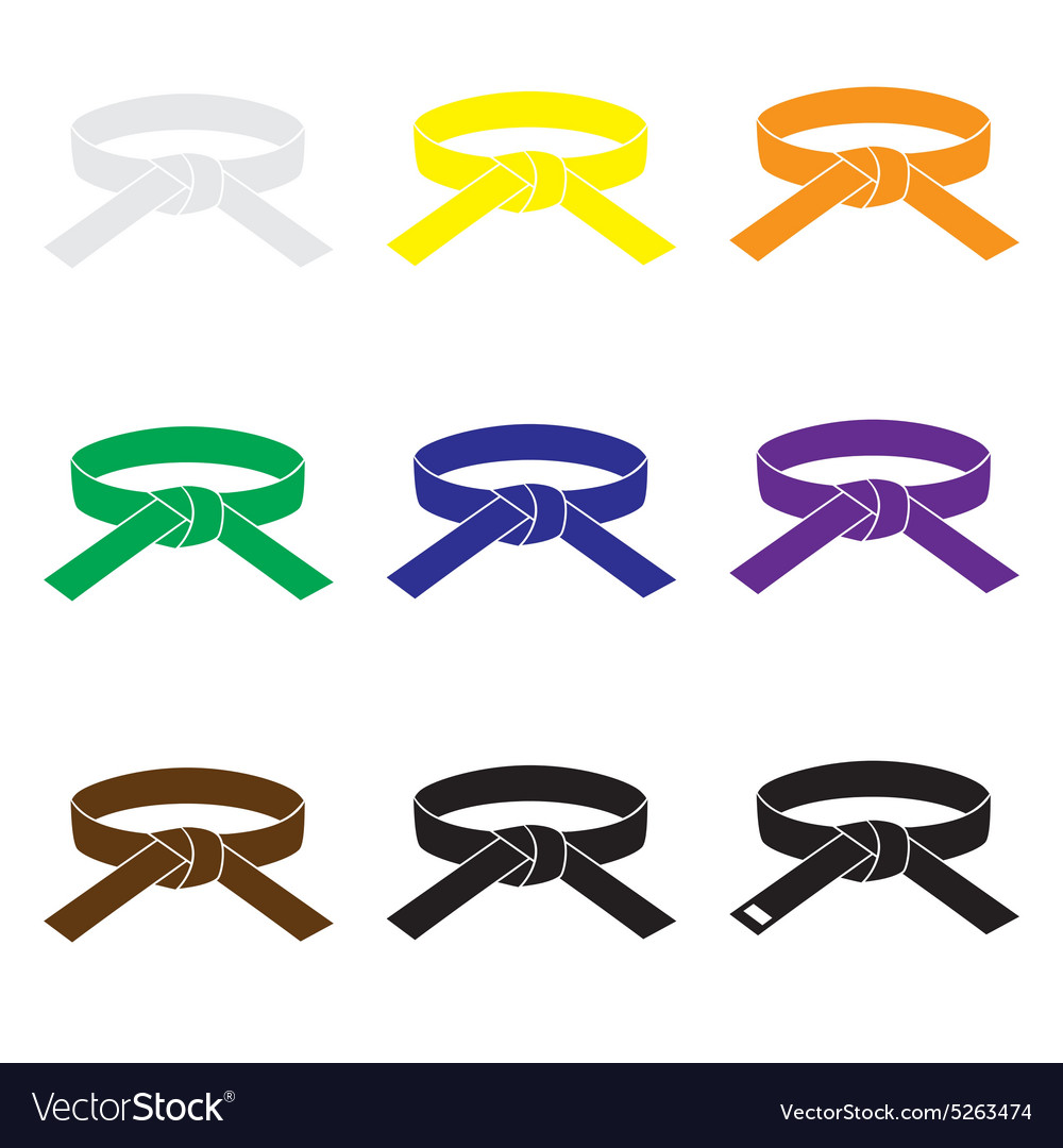 Karate martial arts color belts icons set eps10 vector image