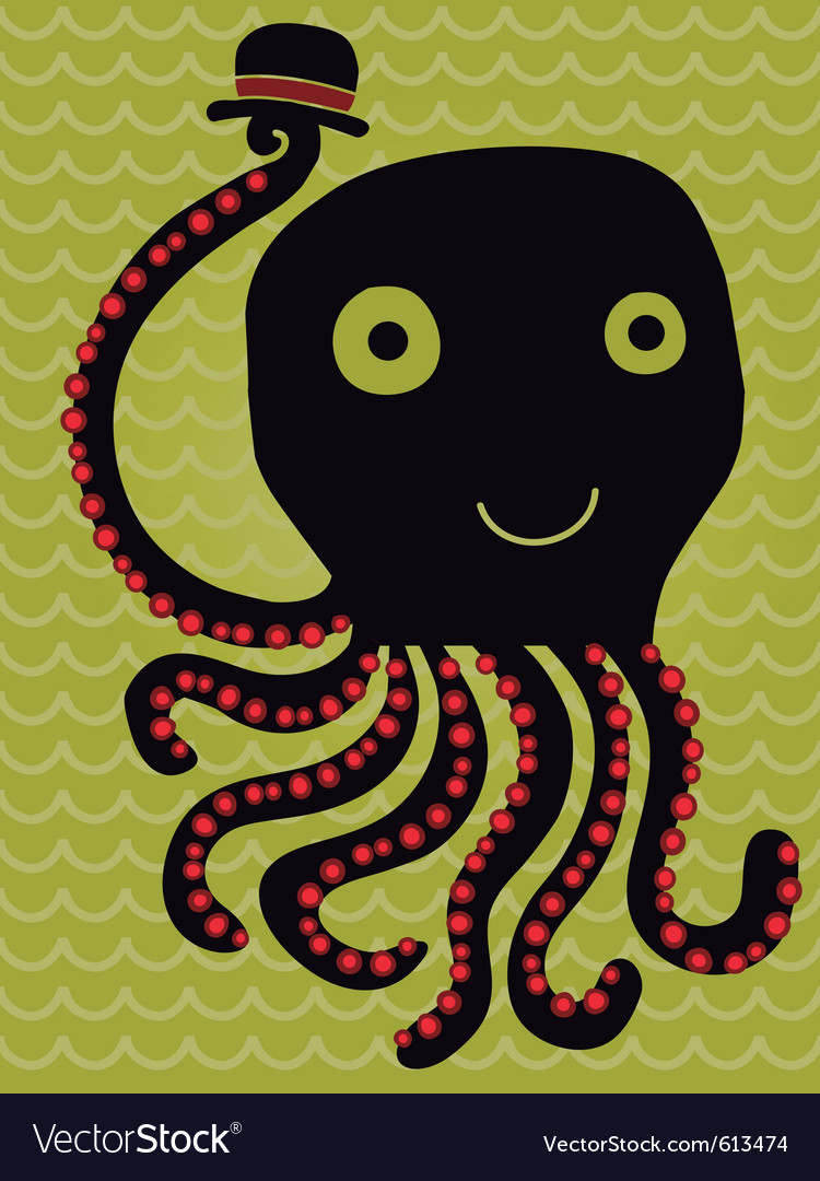 Octopus salutes vector image