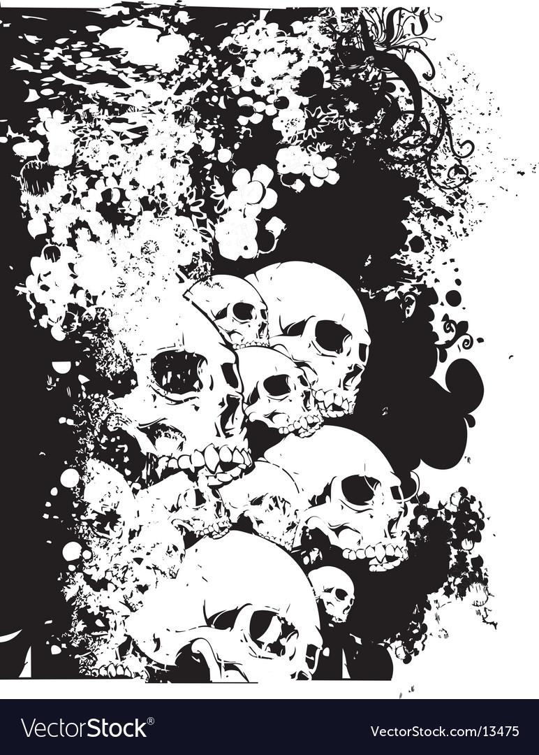 Wall of skulls illustration vector image