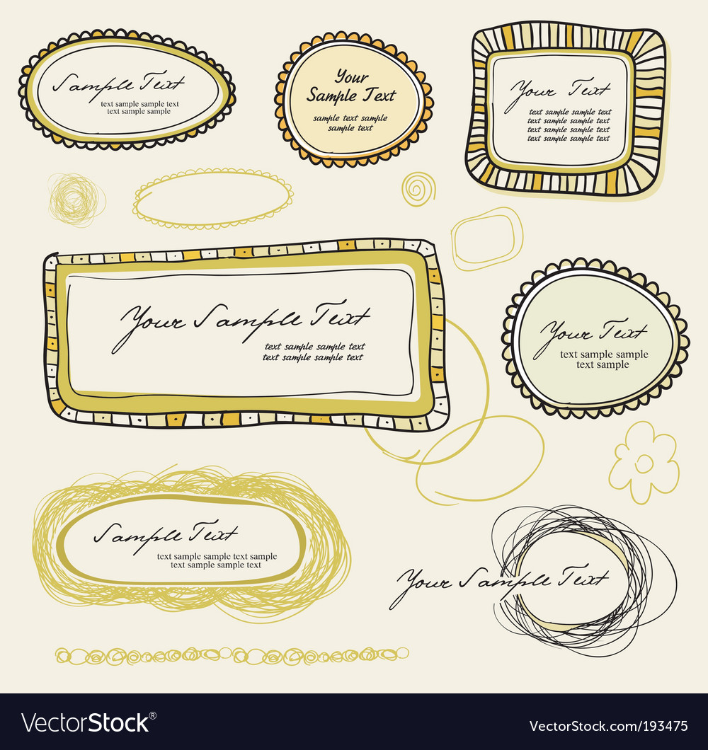 Various doodle labels graphic vector image