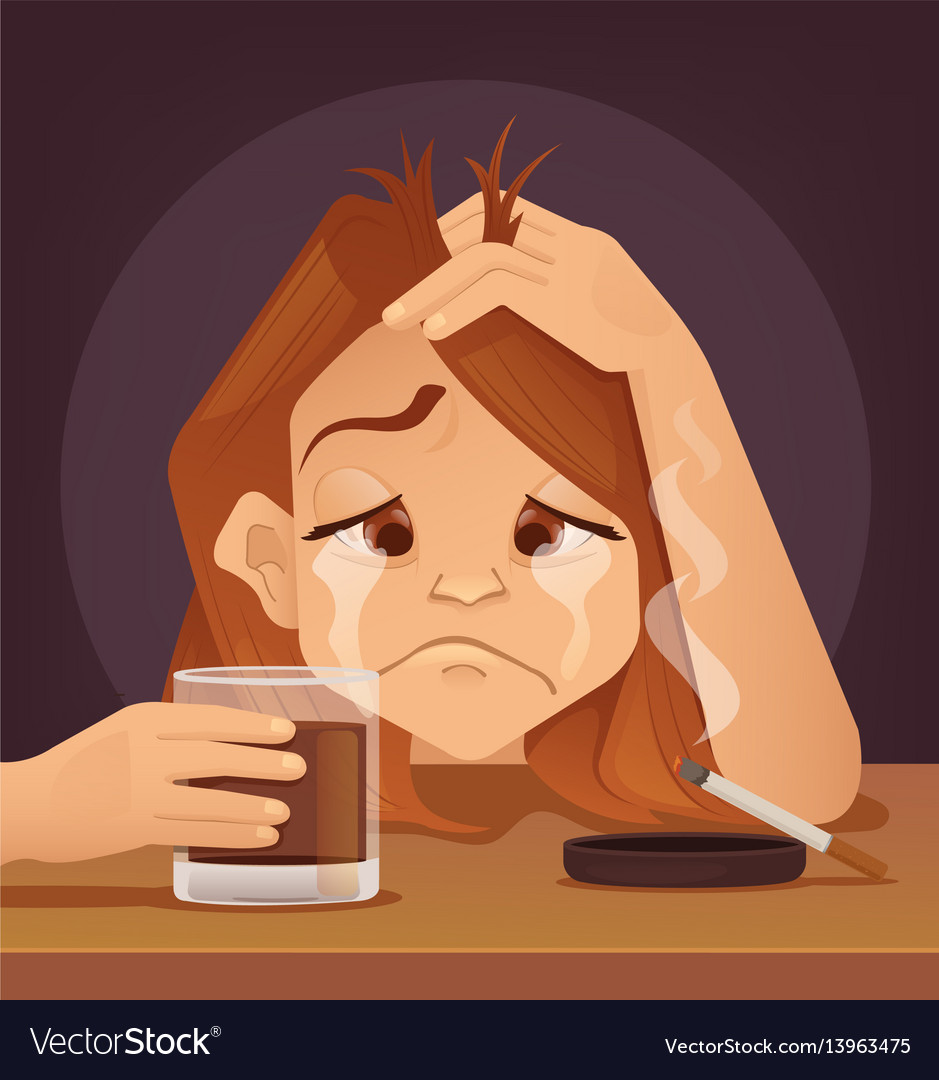 Sad unhappy young woman teenager character cryo vector image